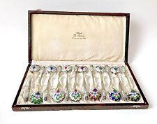 Antique A Erik Kollin Imperial Russian 84 Silver Gilt & Enamel Set 12 Spoons