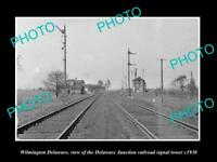 OLD LARGE HISTORIC PHOTO OF WILMINGTON DELAWARE, D/J RAILROAD SIGNAL TOWER c1930