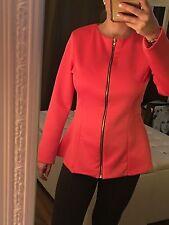 H&M Peplum Schößchen Top Blazer Jacke Koralle Coral Rot Hummer Pink Gr. XS 34