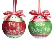 MERRY CHRISTMAS Y'ALL Christmas Ball Ornaments, Set of 2, Burton & Burton