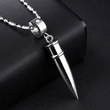 Fashion Stainless steel Men Bullet Pendant Necklace Chain Silver Black Gold