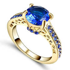 Size 8 Blue Sapphire Crystal Wedding Ring 18K Yellow Gold Filled Jewelry