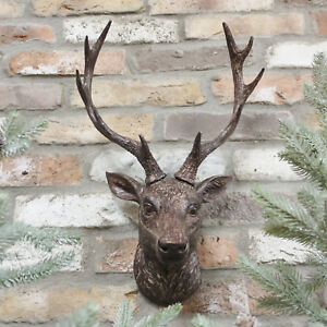 Vintage Aged Resin Reindeer Deer Stags Antlers Head Wall Mounted Large Sculpture