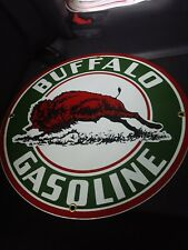 BUFFALO GASOLINE Oil Gas Round Porcelain Advertising sign....~12