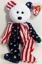"""TY Beanie Babies """"SPANGLE (White Face)"""" PATRIOTIC USA TEDDY BEAR - MWMT! RETIRED"""