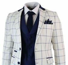 Mens Cream Blue Check 3 Piece Suit Tailored Fit Tweed Retro Smart Formal Vintage