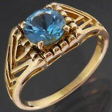 Pierced Art Deco Solid 9k Yellow GOLD Bright Blue TOPAZ SOLITAIRE RING Sz N