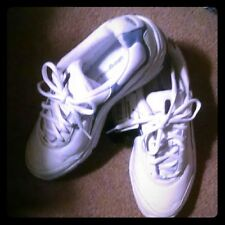 Vintage Adidas Leather White Blue Walking Exercising Light Sneakers Shoes Sz 8.5