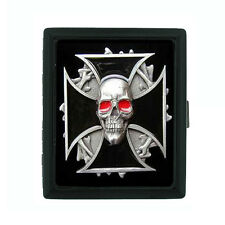 Metal Cigarette Case Holder Box Skull Design-008 Biker Cross Image Red Eyes