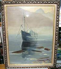 OGETSTEN FISHING SHIP AT SEA ORIGINAL OIL ON CANVAS PAINTING SIGNED