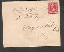 1902 cover Hornellsville NY flag cancel number 1 to O B Hyde Owego NY
