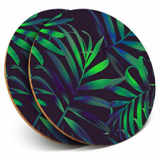 2 x Coasters - Palm Leaves Tropical Plant Surf Home Gift #21984