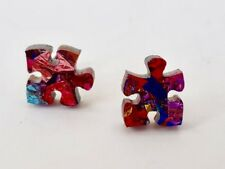 Puzzle studs - Rainbow glitter Puzzles - Laser Cut Acrylic - Autism studs