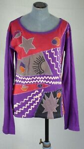 Joe Browns Purple Long Sleeve Blouse Nepal Ethno Boho Style Cotton UK 14