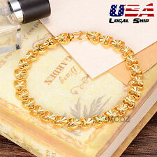 Women Charm 24K Yellow Gold Filled Bracelet Heart Chain Bangle Fashion Jewelry