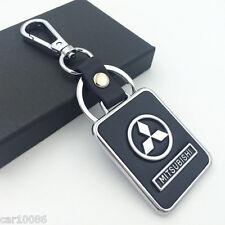 BLACK Leather Metal CAR Logo Key chain Keyring pendant key holder FOR Mitsubishi