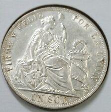 Peru 1888 1 Sol Silver. Double Die Obverse & Reverse. Very Rare ☆Error☆
