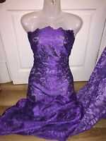 "3 MTR NEW PURPLE SCALLOPED BRIDAL EMBROIDERED LACE NET FABRIC 52"" WIDE £26.99"