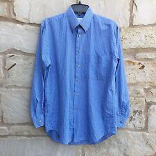 Yves Saint Laurent YSL Men's Blue Plaid Long Sleeve Dress Shirt 14 1/2 (32-33)