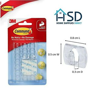 3m Command Hooks Clips Self Adhisive Strips Damage Free Decorating Hangers Clear
