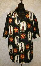 Ohana Classics Ukulele Tiki Floral Print Hawaiian Shirt SZ L #3478