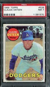 1969 Topps #528 Claude Osteen PSA 7 NM