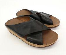 Fitflop Lulu Leather Sandals 7 Cross Slides Wedge Black 375-001