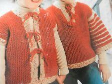"Knitting Pattern Girls Boys Waistcoat Jumper 22-26"" Chest Chunky Vintage"