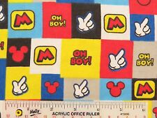 """31"""" REMNANT MICKEY MOUSE OH BOY! Patch Disney Cotton Flannel Fabric    (K1)  #"""