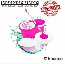 Hodeso Magic Spin Mop W/Bucket 1 Heads Rotating 360° - PINK