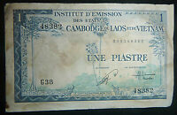 FRENCH INDOCHINA - 1954 BANK NOTE - 1 PIASTRE - Vietnam, Laos, Cambodia - 6490