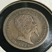 1860  ITALY SILVER 50 CENTESIMI BETTER DATE COIN