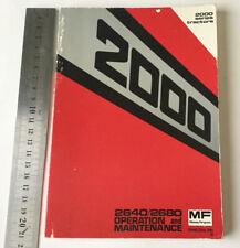 Massey Ferguson Original 2000 Series Tractor Instruction Manual/Book