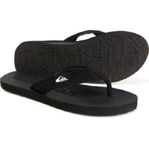 QUIKSILVER Men's Black Logo Quilted Wide Straps Flip Flops Sandals 7/9/11/12