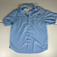 Columbia Button Up Shirt Adult Extra Large XL Blue Outdoors Fishing PFG Mens *