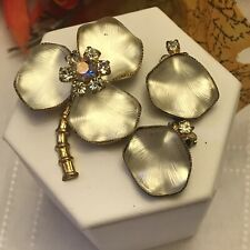 Vintage West Germany Demi Parure Textured White Clover Brooch & Earring Set