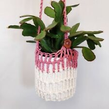 Two-tone Crochet Indoor Plant Hanging Basket - Dusky Rose Pink and Ivory
