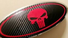 PUNISHER Skull Style Decal Overlay Fits Ford Emblem Oval Badge Custom Set of 2
