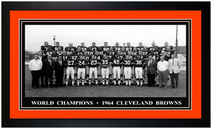Cleveland Browns 1964 World Champions Roster w/ Jim Brown Photo Matted & Framed!