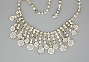 Vintage Retro Gold Drippy Rhinestone Channel Set Open Back Crystal Bib Necklace