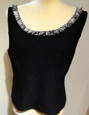 ST JOHN KNIT SLEEVELESS TOP, BLACK WITH BLACK & WHITE FRINGE, SIZE 10 PERFECT!