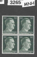 #3265  MNH stamp block of 4 / PF50 Sc521 / WWII Germany Third Reich Adolf Hitler