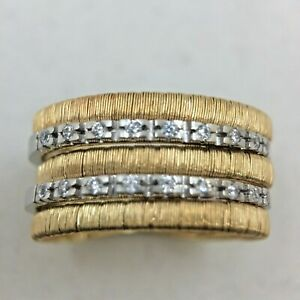 Womens Ring Multi Row 14k Two Tone Gold Flexible Snake Chain White Sapphires