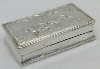 Antique 1904 Solid Silver Snuff Box Hunting Horse Riding (1257-C-SNY)