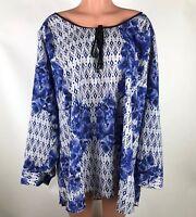 Daniel Rainn Womens Blouse Blue White Floral Boho Peasant Tab Sleeve Plus Sz 3X