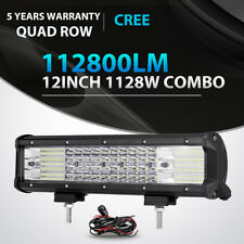 "Quad Row 1128W 12Inch Led Work Light Bar Spot Flood Offroad 4x4 Truck ATV 14"" 15"