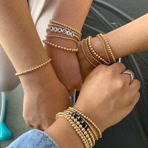 Luxury 14K Gold Filled Beads Beaded Bracelets Stacking Bracelets For Women Girl