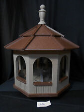 Large Gazebo Vinyl Bird Feeder Amish Homemade Handmade Handcrafted Clay & Brown