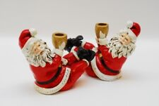 2 Vintage Japan Drunken Santa Single Light Candle Holders