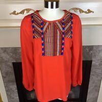 New WEST 36TH Womens M Orange Long Sleeve Tribal Boho Tunic Blouse